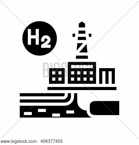 Factory Hydrogen Glyph Icon Vector. Factory Hydrogen Sign. Isolated Contour Symbol Black Illustratio