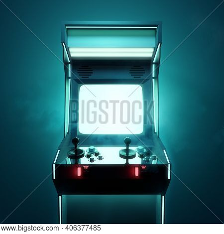 A Retro Video Games Arcade Fighting Machine For Two Players, With A Large Blank Screen. 3d Render Il