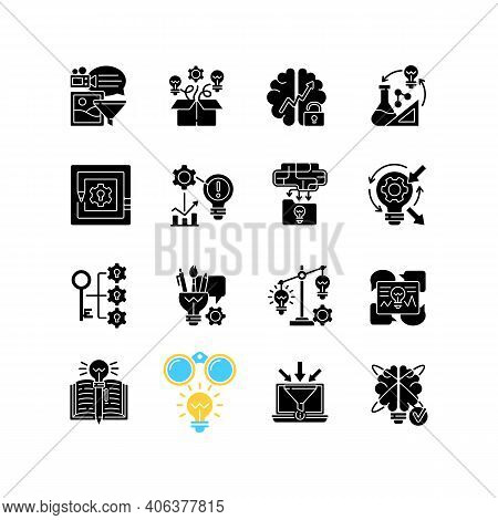 Creative Thinking Black Glyph Icons Set On White Space. Idea Prioritization.creative Problem Solving