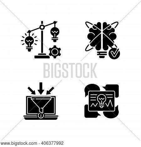 Creative Thinking Black Glyph Icons Set On White Space. Gathering Information. Idea Prioritization.