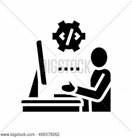 Programmer Coding And Development Glyph Icon Vector. Programmer Coding And Development Sign. Isolate
