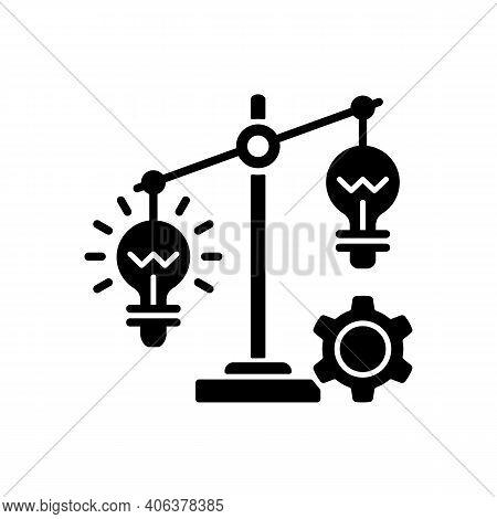 Idea Prioritization Black Glyph Icon. Creative Thinking Idea. Choosing The Right Goals. Priority Opt