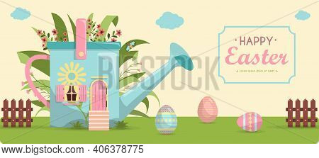 A Set Of Brightly, Colorful Painted Easter Eggs And A Cute Little House In Flowers. Vector Illustrat