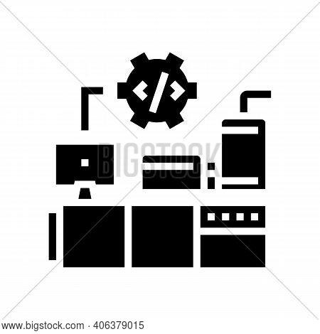 Industrial Equipment Debugging Glyph Icon Vector. Industrial Equipment Debugging Sign. Isolated Cont