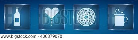 Set Beer Bottle, Balloon In Form Of Heart, Pizza And Mulled Wine. Square Glass Panels. Vector