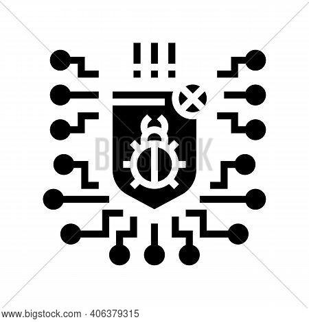 Computer Protection Program Anti-virus Glyph Icon Vector. Computer Protection Program Anti-virus Sig