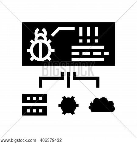 Virus On Server, Cloud And Computer Components Glyph Icon Vector. Virus On Server, Cloud And Compute