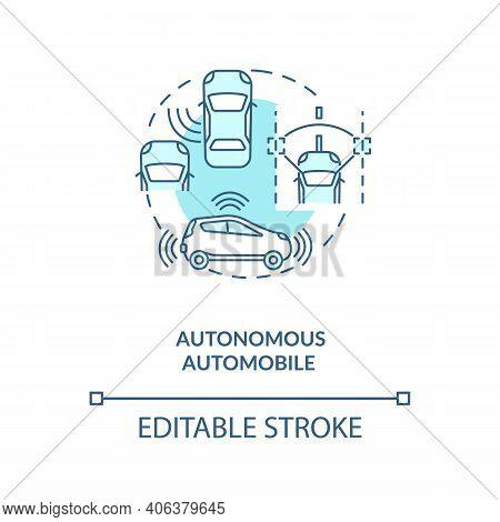 Autonomous Automobile Concept Icon. Cyber-physical Systems Application Idea Thin Line Illustration.