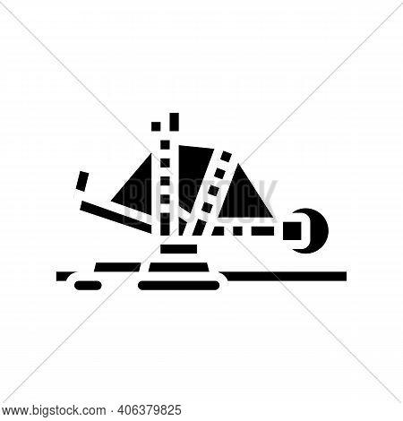 Excavator Mining Stone Glyph Icon Vector. Excavator Mining Stone Sign. Isolated Contour Symbol Black