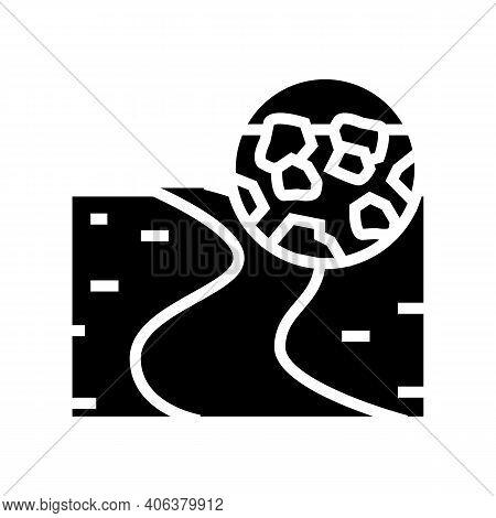 Gravel Road Glyph Icon Vector. Gravel Road Sign. Isolated Contour Symbol Black Illustration