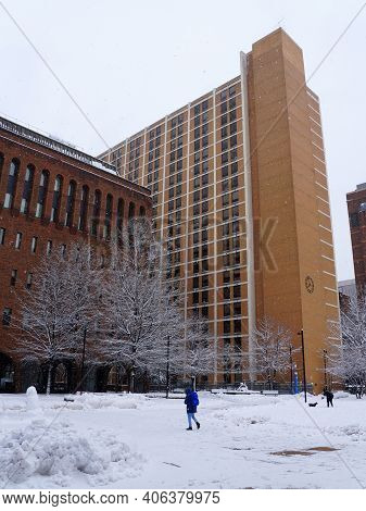 Philadelphia, Pennsylvania, U.s.a - February 2, 2021 -the Icy Ground And Trees By Jefferson Universi