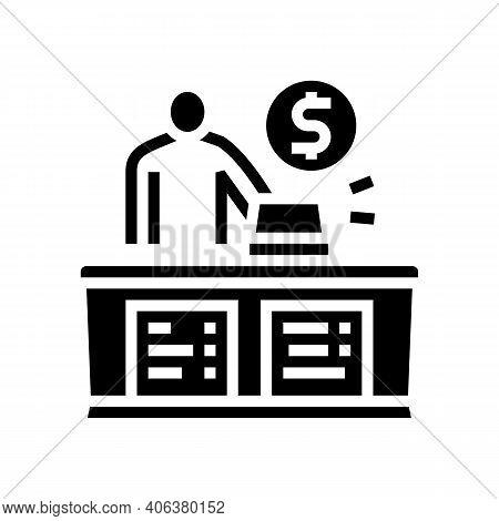 Cashier Seller At Counter Glyph Icon Vector. Cashier Seller At Counter Sign. Isolated Contour Symbol