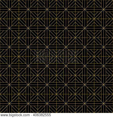 Japanese Seamless Kumiko Pattern In Brown Fine Lines.black Background.