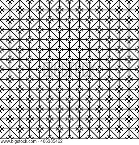 Japanese Seamless Kumiko Pattern In Black .average Thickness Lines.