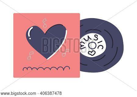 Hand Drawn Vinyl Record, Retro Design, Love Music Concept. Flat Illustration.