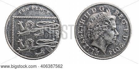 Ten Pence Coin Isolated On White Background