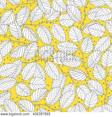 Seamless Pattern With Elm Tree Branches And Leaves For Surface Design And Other Design Projects. Tre