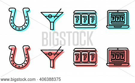 Set Line Slot Machine With Lucky Sevens, Horseshoe, Martini Glass And Laptop And Slot Machine Icon.