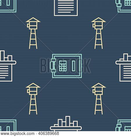 Set Line Paper Shredder, Watch Tower And Safe On Seamless Pattern. Vector