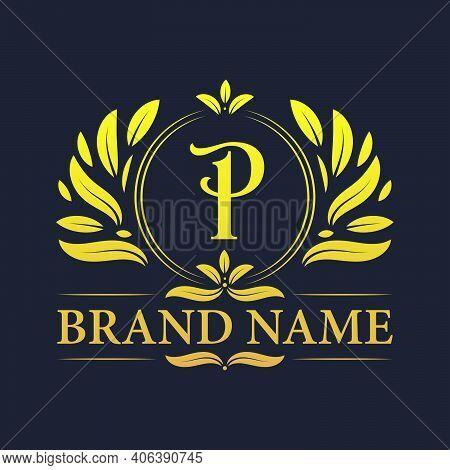 Golden Vintage Ornamental Alphabet P Logo Design. Luxurious Golden Elegant Letter P Logo Design Temp