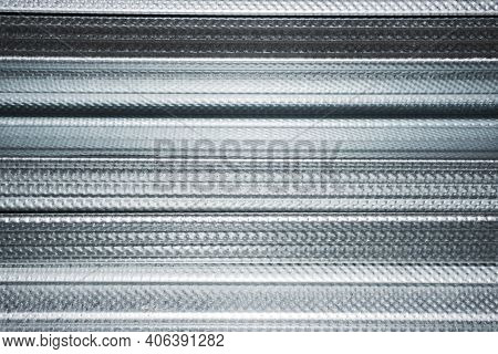 Plasterboard Metal Profiles. Gypsum Board Installation Background. Shiny Metal Sheet Texture. Set Of