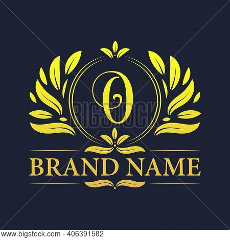 Golden Vintage Ornamental Alphabet O Logo Design. Luxurious Golden Elegant Letter O Logo Design Temp