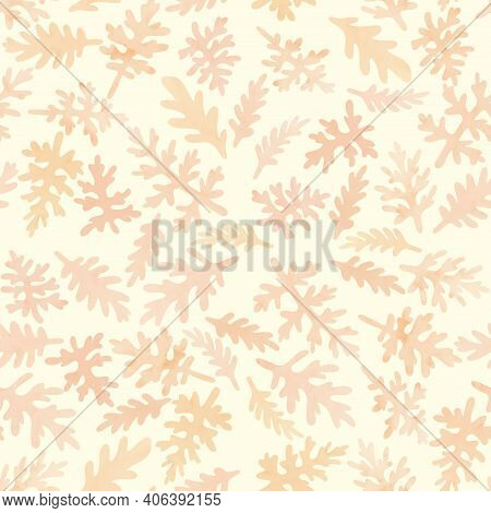 Seamless Pattern, Repeating Background, Tile Floral Ornament With Textured Leaves Of Cineraria, Bota