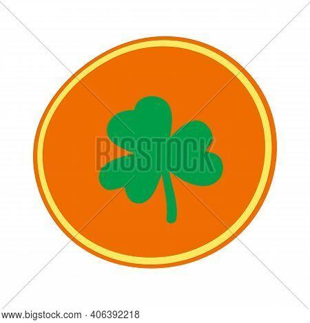 Coil Icon. Leprechaun Gold With Shamrock. St. Patricks Day Simbol. Vector Hand Drawn Clipart.