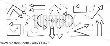 Arrow Icons. Grunge Arrows. Hand Drawn Arrows. Set Of Vector Curved Arrows. Sketch Doodle Style. Vec