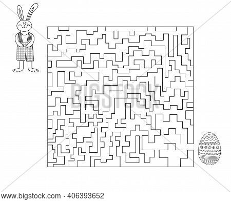 Easter Maze Help Bunny Find Easter Egg. Vector Outline Illustration Of Maze Game With Cute Bunny For