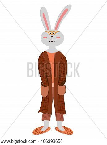 Cute Cartoon Rabbit Isolated On White Background. Rabbit In Robe And Slippers. Rabbit Wake Up In The