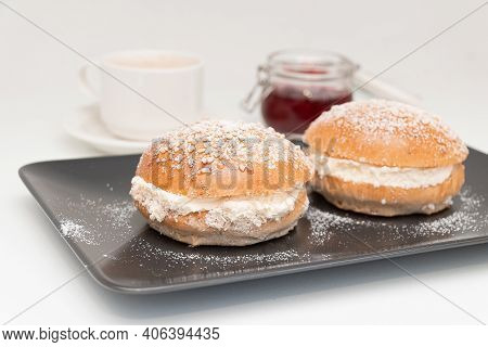 Traditional Finish Sweet Buns With Whipped Cream For Shrove Tuesday. Laskiaispulla.