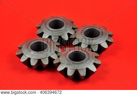 The Metal Gears Connected Together. Mechanical Components Of The Car.