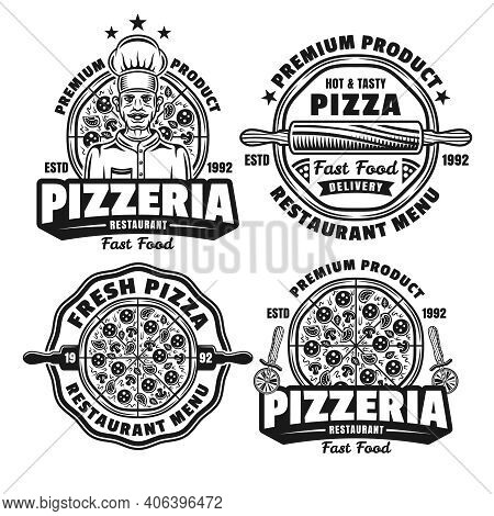 Pizza And Pizzeria Set Of Four Vector Emblems, Badges, Labels, Logos In Vintage Monochrome Style Iso