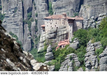 View Of The Holy Monastery Of Rousanou-st. Barbara, Meteora, Greece