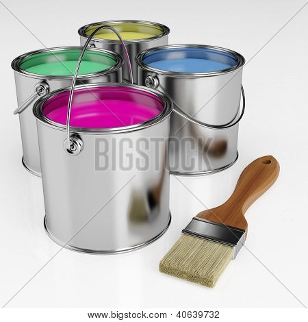 Cans Of Paint And A Brush