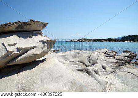 Bizarre Rocks And Beautiful Blue Sea In Sithonia, Greece
