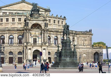 Dresden, Germany - September 23, 2020 : Semperoper, Famous Opera House And Equestrian Statue Of King