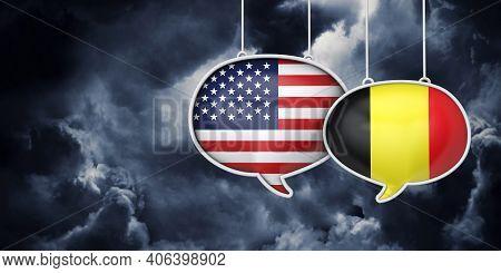 Usa And Belgium Communication. Trade Negotiation Talks. 3d Rednering