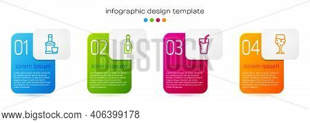 Set Line Whiskey Bottle And Glass, Champagne, Glass Of Juice And Champagne. Business Infographic Tem