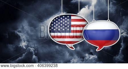 Usa And Russia Communication. Trade Negotiation Talks. 3d Rednering