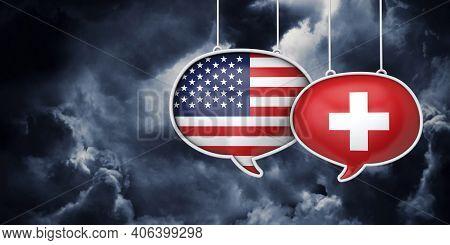 Usa And Switzerland Communication. Trade Negotiation Talks. 3d Rednering