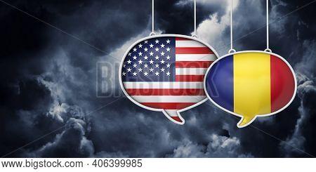 Usa And Romania Communication. Trade Negotiation Talks. 3d Rednering
