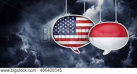 Usa And Indonesia Communication. Trade Negotiation Talks. 3d Rednering