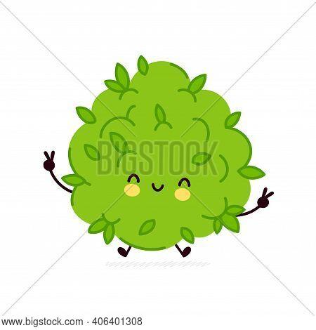 Cute Funny Marijuana Weed Bud Character. Vector Flat Line Cartoon Kawaii Character Illustration Icon