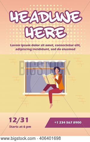 Young Woman Reading Book On Windowsill. Girl Enjoying Novel, Student Doing Home Task Flat Vector Ill