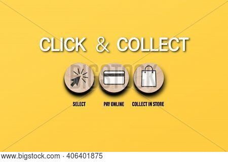 Click And Collect Concept With Symbols On Round Wooden Discs On Orange Background, Buying Online And