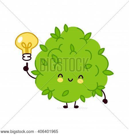 Cute Funny Marijuana Weed Bud Character With Idea Light Bulb. Vector Flat Line Cartoon Kawaii Charac