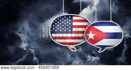 Usa And Cuba Communication. Trade Negotiation Talks. 3d Rednering