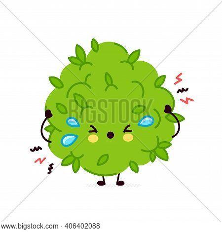 Cute Funny Sad Cry Marijuana Weed Bud Character. Vector Flat Line Cartoon Kawaii Character Illustrat
